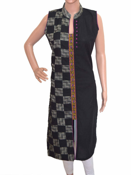Cotton Kurti From Gujarat In Black - KBPKGK5JL13