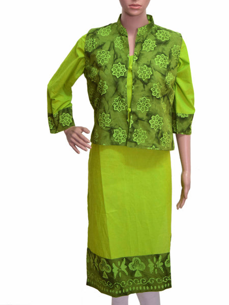 Cotton Kurti From Gujarat In Green - KBPKGK5JL15