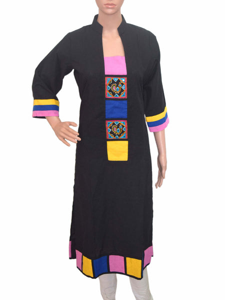 Cotton Kurti From Gujarat In Black - KBPKGK19JN4