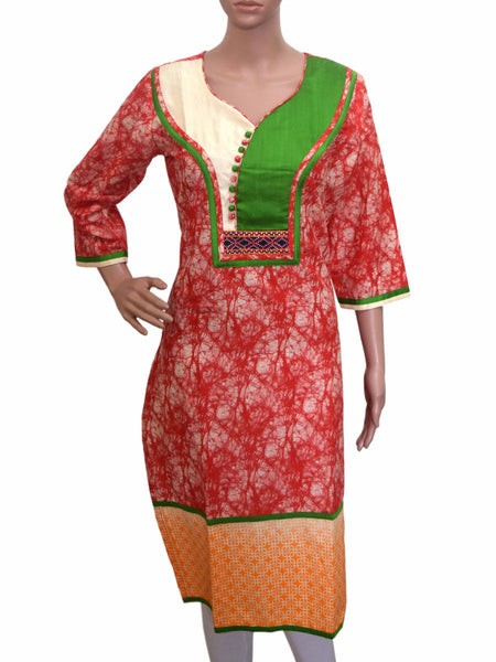 Cotton Silk Kurti From Gujarat In Multicolor - KBPKGK19JN8