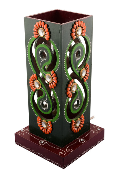 Wooden Carved Sparkling Night Table Lamp - EC-HJRME24MA52
