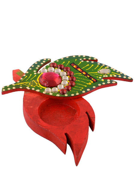 Leaf Design Colorful Wooden Chopra - EC-HJRME24MA127