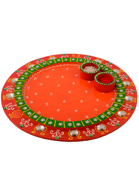 Wooden Papier Mache Crystal Studded Round Shape Pooja Thali - EC-HJRME24MA135