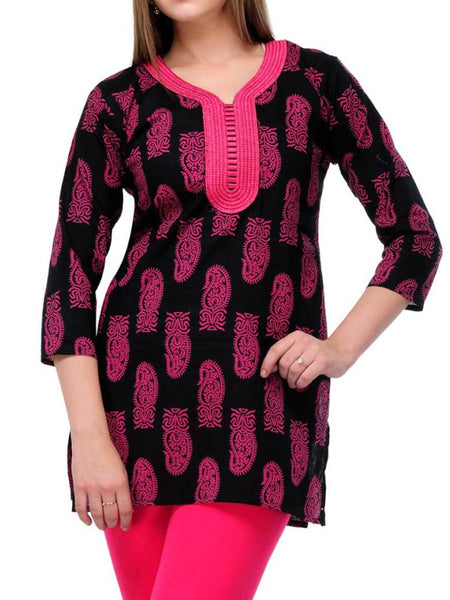 Short Tops From West Bengal In Black & Pink - PWTI19MA1