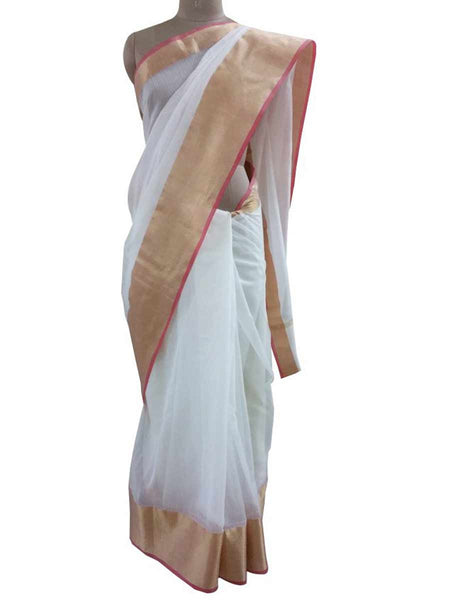 Off White Silk Kota Cotton saree with Running Blouse  - AC-PSA11AG63