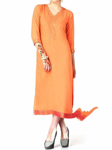 Peach Cotton Rayon Embroidered Kurti - IY-PDK20SP6
