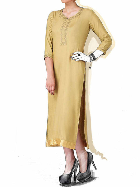 Beige Cotton Rayon Embroidered Kurti - IY-PDK20SP9