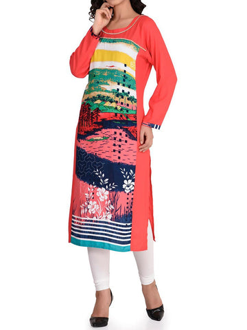 Red Digital Print Faux Crepe Kurti - IY-PDK26AG1