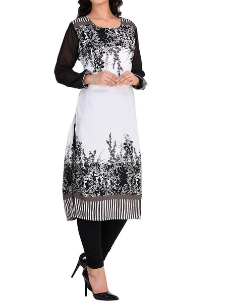 Black and Off White Digital Print Faux Georgette Kurti - IY-PDK26AG8