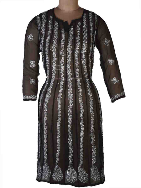 Kurti With Chikan Work In Black &Amp; White-APLUK28JL28