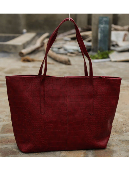 Tote Bag From Delhi In Maroon - AE-CDBT18JL16