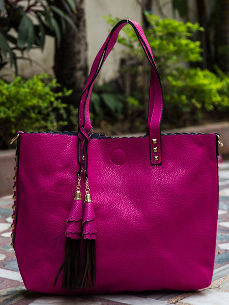 Tote Bag From Delhi In Pink - AE-CDBT18JL2