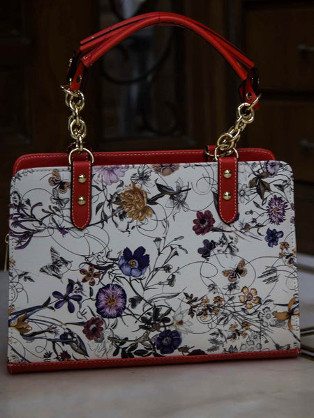 Tote Bag From Delhi In Red & White - AE-CDBT18JL10