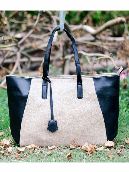 Tote Bag From Delhi In Black-Cream - AE-CDBT18JL63