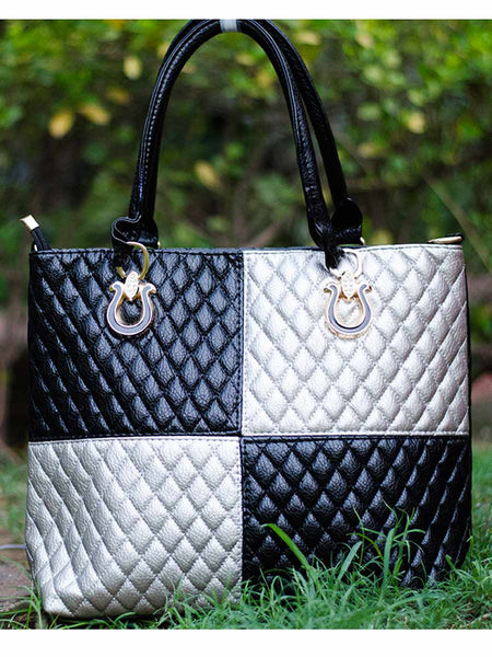 Tote Bag From Delhi In Black & Silver - AE-CDBT18JL83