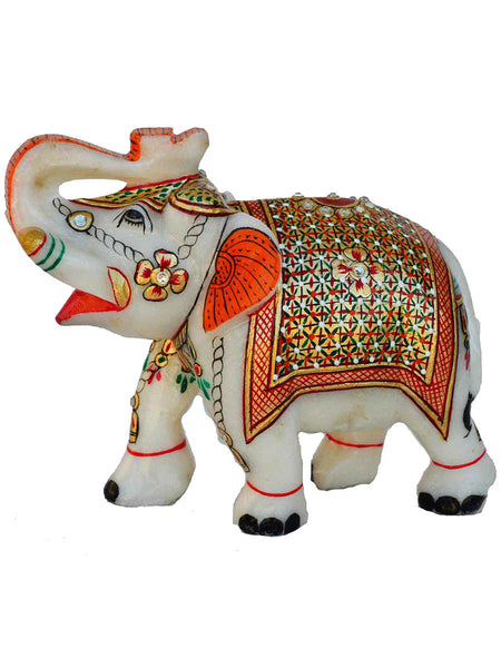 Marble Elephant Statue In White & Multi Color-EC-HJRME23FB2