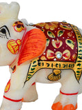 Marble Elephant Statue In White & Red Color-EC-HJRME23FB3