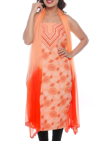Cotton Embroidered Chikankari Suit In Peach -  M1-PLUS15FB1