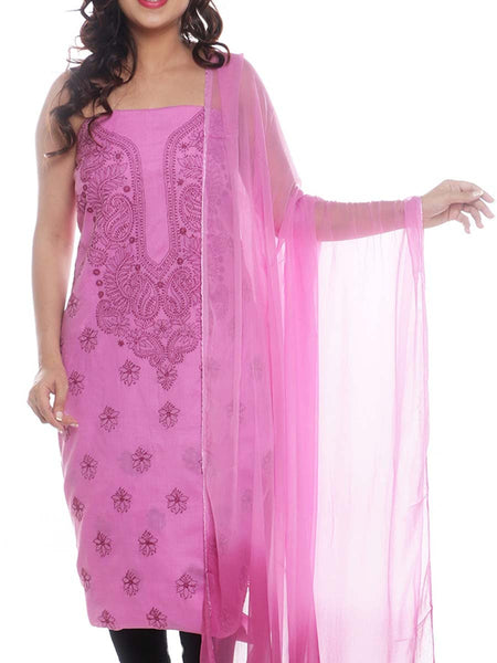 Cotton Embroidered Chikankari Suit In Pink -  M1-PLUS15FB13