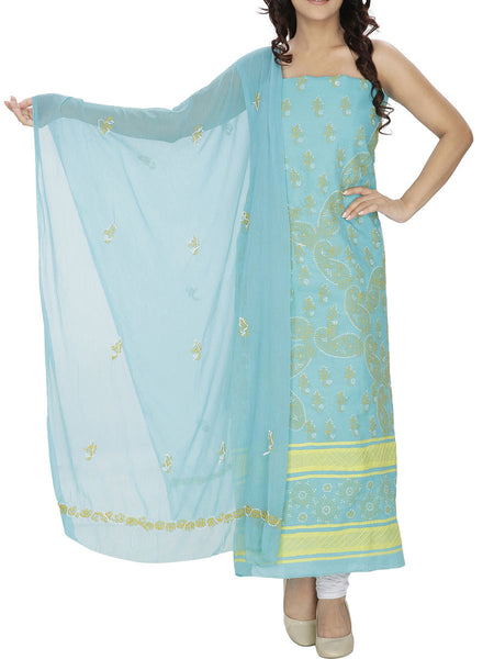 Blue Colour Cotton Chikankari Suit - M1-PLSU13JL3