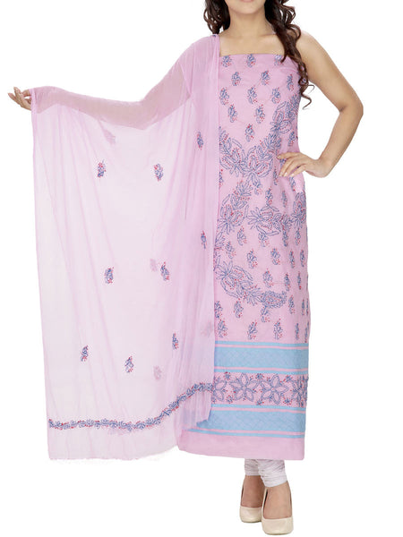 Pink Colour Cotton Chikankari Suit - M1-PLSU13JL5