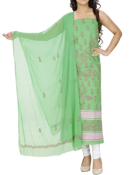 Green Colour Cotton Chikankari Suit - M1-PLSU13JL7