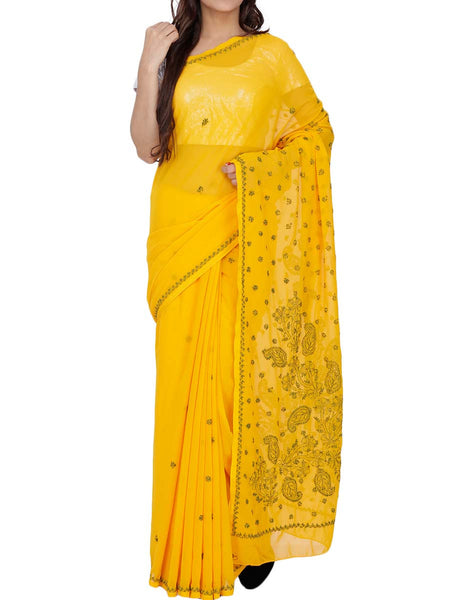 Yellow Colour Georgette Chikankari Saree - M1-PLUSA15FB17