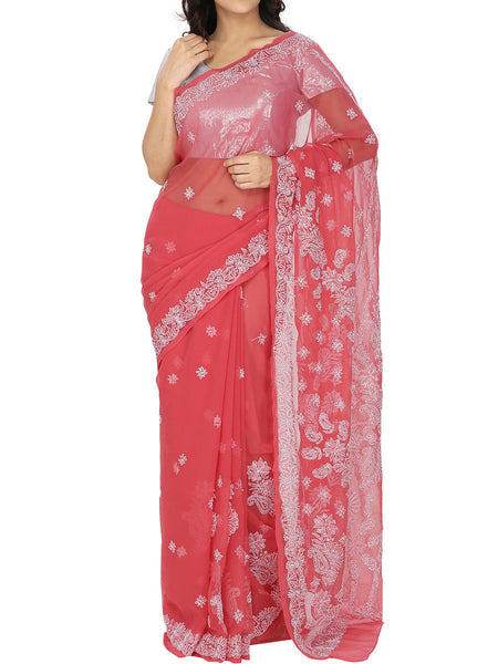 Red Colour Georgette Chikankari Saree  - M1-PLUSA13JL2