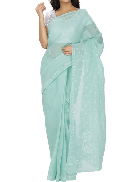Blue Colour Cotton Chikankari Saree  - M1-PLUSA13JL10