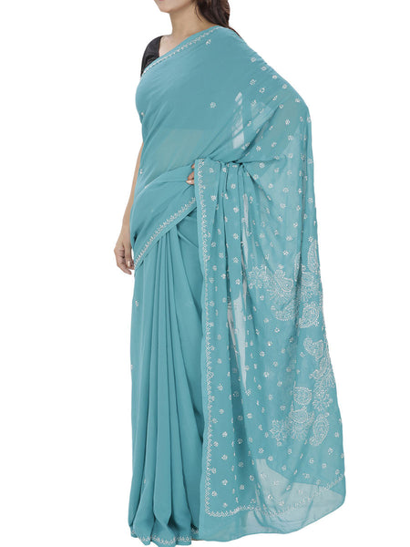 Blue Colour Georgette Chikankari Saree  - M1-PLUSA13JL18