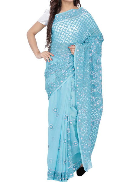 Blue Colour Georgette Chikankari Saree - M1-PLUSA15FB8