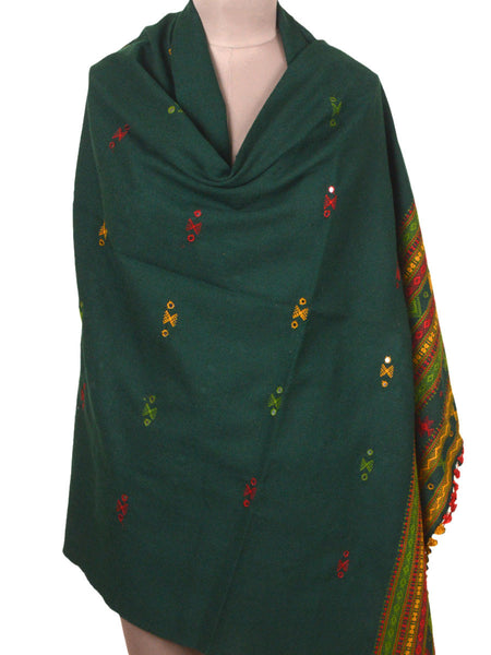 Kutch Embroidered Shawl From Gujarat In Dark Green - MCKGS16FBY26