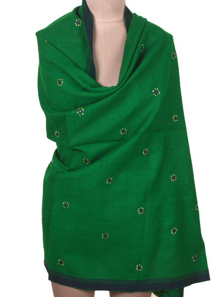 Kutch Embroidered Shawl From Gujarat In Green - MCKGS16FBY3
