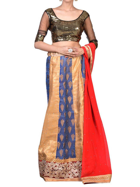 Sea Green & Golden Embroidered Lehenga Choli From West Bengal - PWLI19OCT7