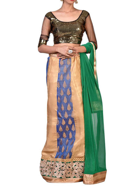 Sea Green & Golden Embroidered Lehenga Choli From West Bengal - PWLI19OCT8