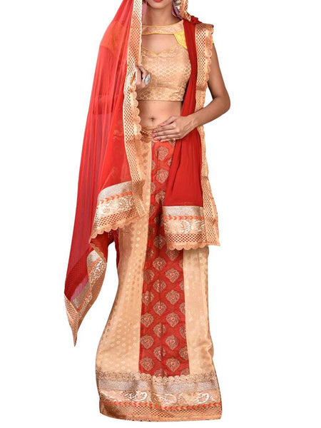 Red & Golden Embroidered Lehenga Choli From West Bengal - PWLI19OCT14