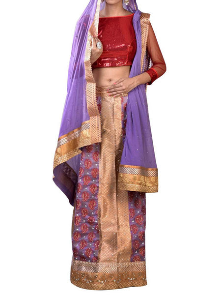 Violet & Golden Embroidered Lehenga Choli From West Bengal - PWLI19OCT15