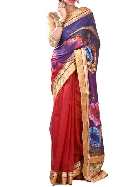 Red & Royal Blue Colors Stunning Half Fusion Collection Noyal Silk Saree With Unstitched Blouse From West Bengal - PWBSAI29OCT1