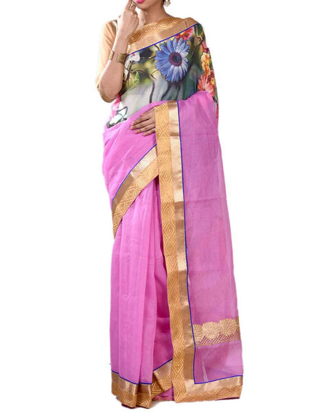 Pink & Green Colors Marvlous Half Fusion Collection Saree With Unstitched Blouse From West Bengal - PWBSAI29OCT3