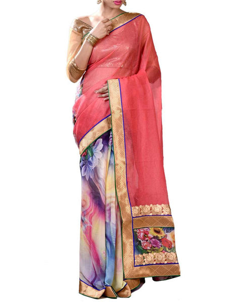 Orange & Sky Blue Colors Marvlous Half Fusion Collection Saree With Unstitched Blouse From West Bengal - PWBSAI29OCT4
