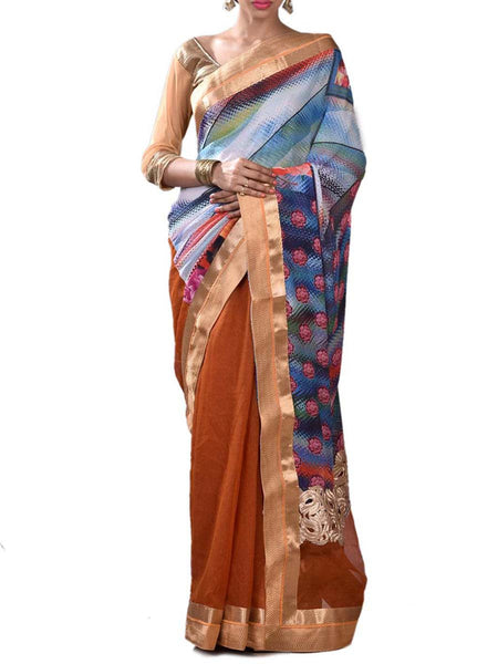 Masterd & Blue Half Gorgeous Fusion Collection Saree With Unstitched Blouse From West Bengal - PWBSAI29OCT6