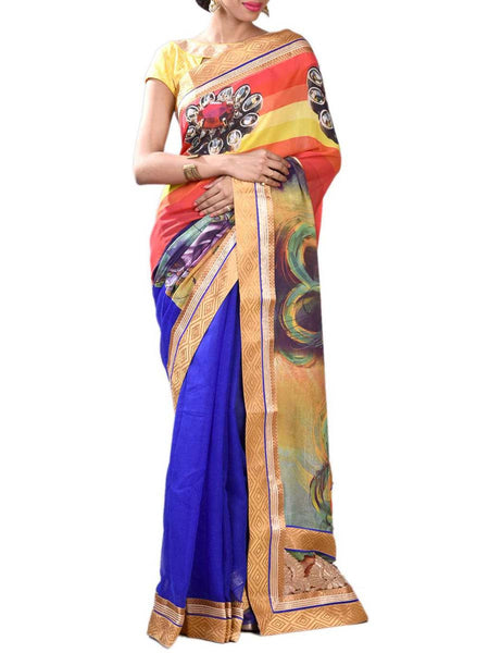 Ravishing Royal Blue & Orange Half Fusion Collection Saree With Unstitched Blouse From West Bengal - PWBSAI29OCT11