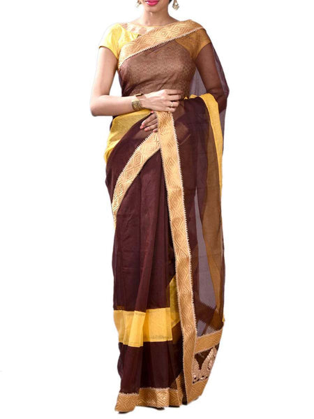 Brown & Yellow Colors Noyal Silk Half Fusion Collection Saree With Unstitched Blouse From West Bengal - PWBSAI29OCT12