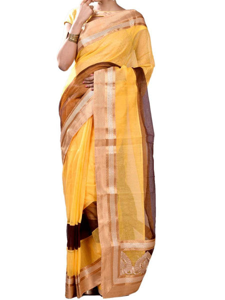 Yellow Color Half  Gorgeous Fusion Collection Saree With Blouse From West Begal-PWBSAI30NR6