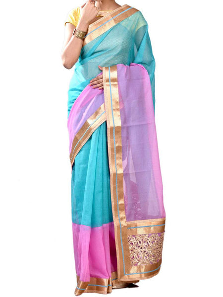 Elegant Sky Blue & Pink Colors Half Fusion Collection Saree With Blouse From West Begal-PWBSAI30NR7