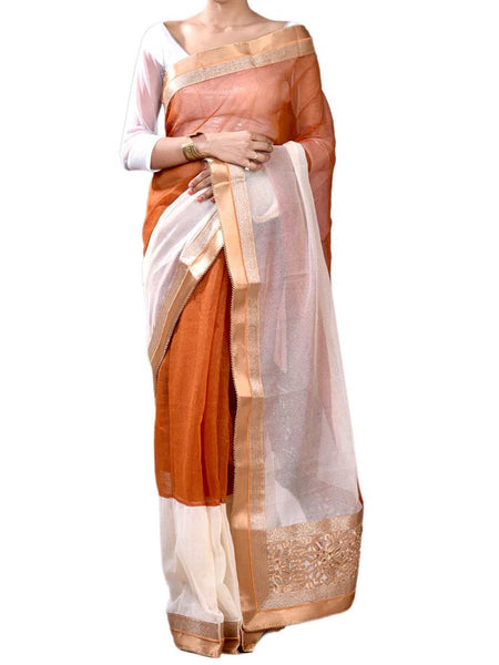 Coffie Color Half Fusion Chicsee Collection Saree With Blouse From West Begal-PWBSAI30NR10