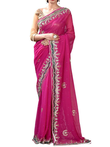 Magenta Color Dazzling Exclusive Zardosi Saree Collection With Unstitch Blouse  From West Bengal - PWBSAI29OCT20