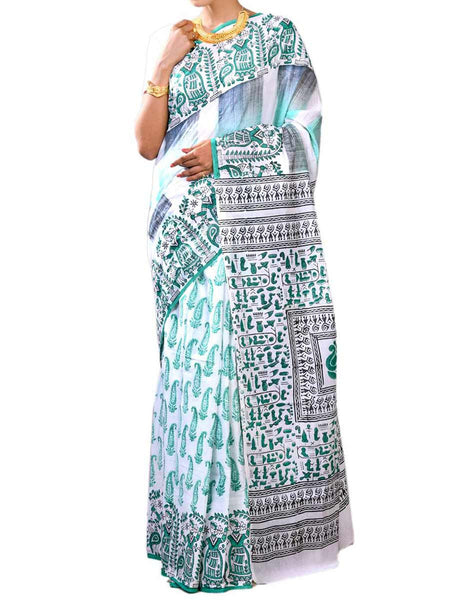 Ravishing White & Light Green Color Fine Bengal Cotton Hand Work Saree With Blouse - PWBSAI27NR5