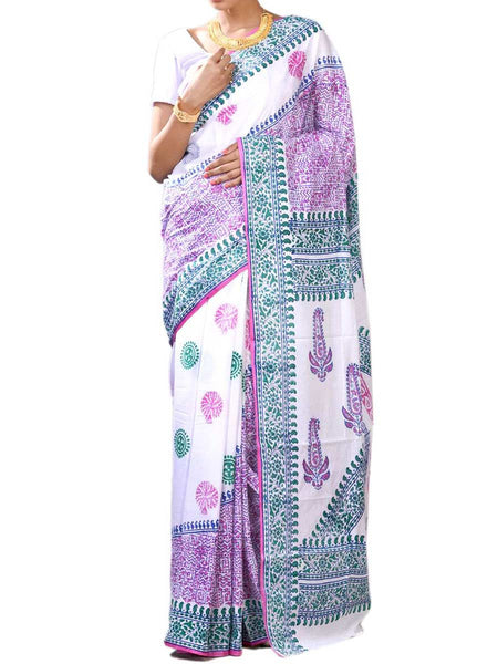 Elegant Magenta & Blue Color Fine Bengal Cotton Hand Work Saree With Blouse - PWBSAI27NR7
