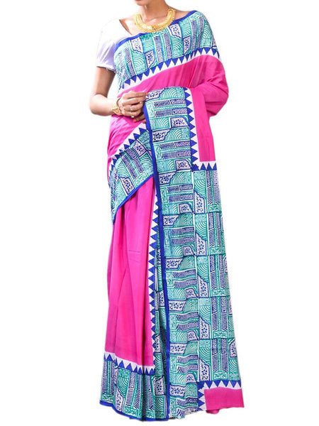 Dazzling Magenta Color Fine Bengal Cotton Hand Work Saree With Blouse - PWBSAI27NR14